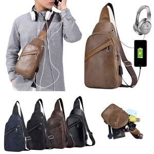 Men's Leather Sling Daypack Chest Crossbody Bag